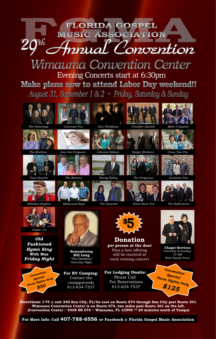 The 29th Annual Florida Gospel Music Convention presents concerts for entire Labor Day Weekend